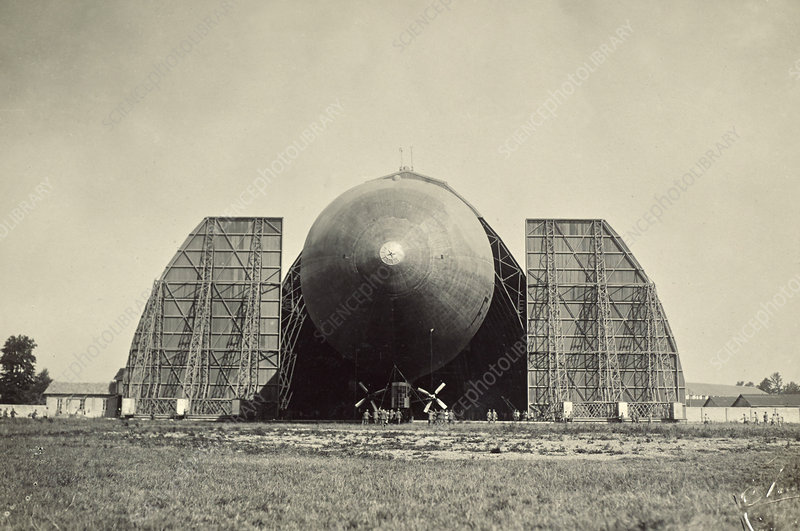 Blimp Coming out Hanger, WW1 Era