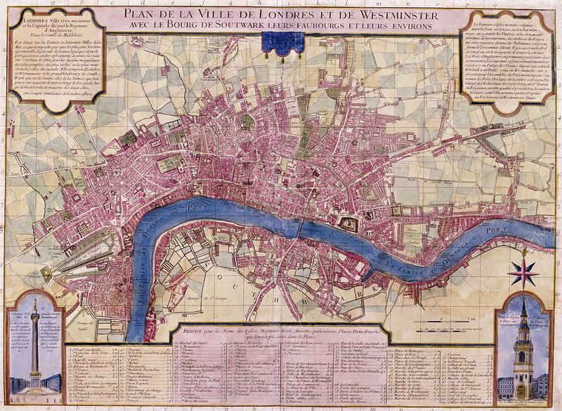 London And Surrounding Areas Map.Map Of London 1727 Stock Image C044 9726 Science Photo Library