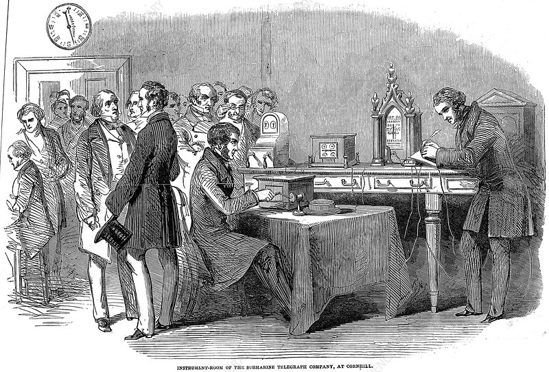 Opening of the London to Paris telegraph link, 1852