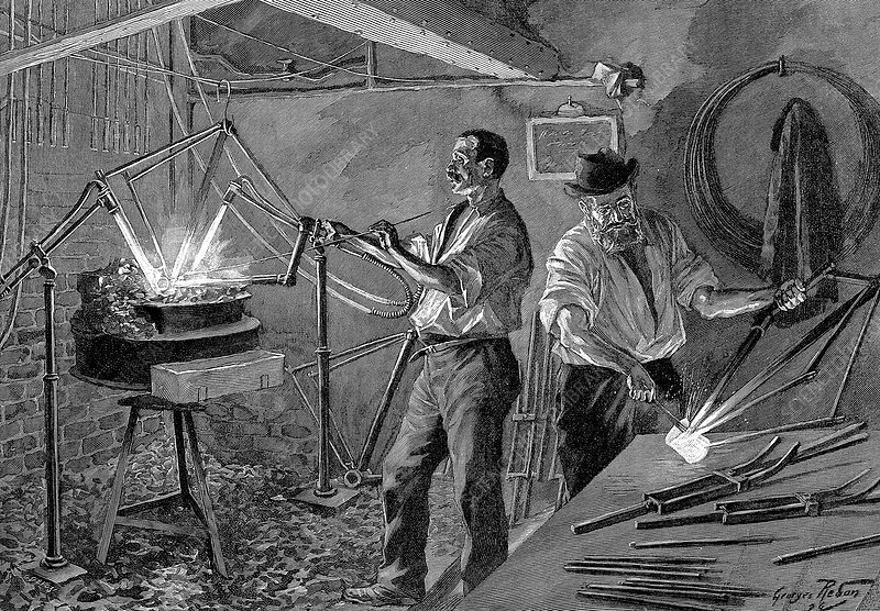 Welding a bicycle frame, France, 1896