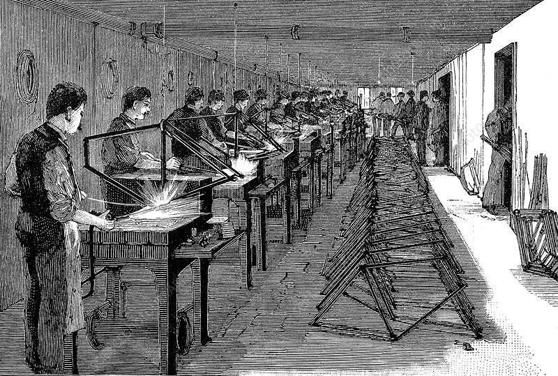 Welding bicycle frames in an American factory, 1900