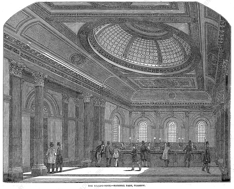 Telling room, National Bank of Scotland, Glasgow, c1860