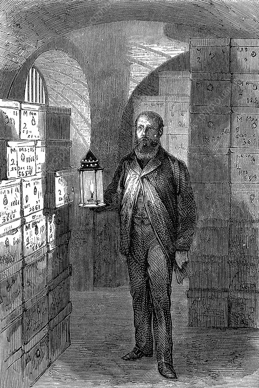 Banknote store in the vaults of the Bank of England, c1870