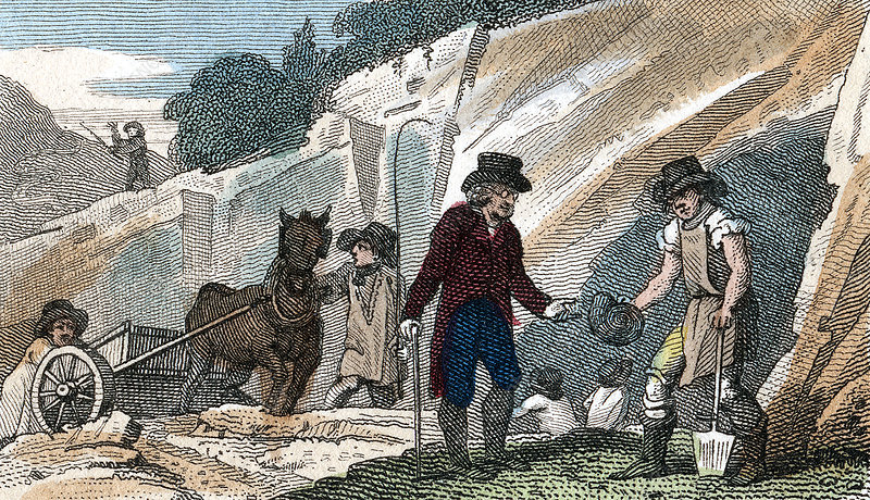 Fossil hunting, Cambridgeshire, 1822