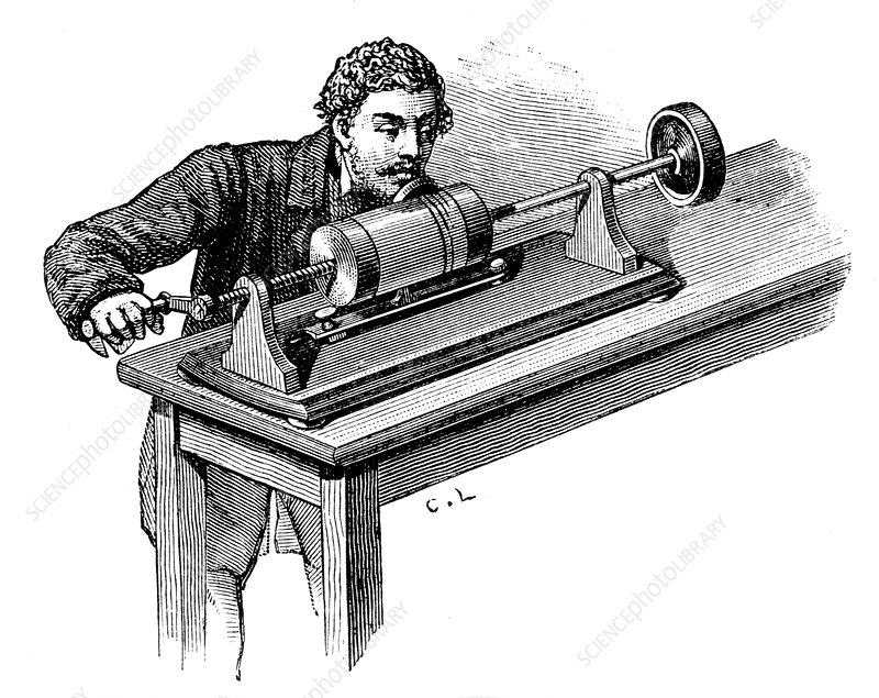 Recording on first model of Edison's Phonograph, c1878