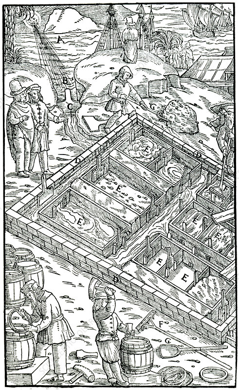 Producing salt by evaporating sea water in salt pans, 1556
