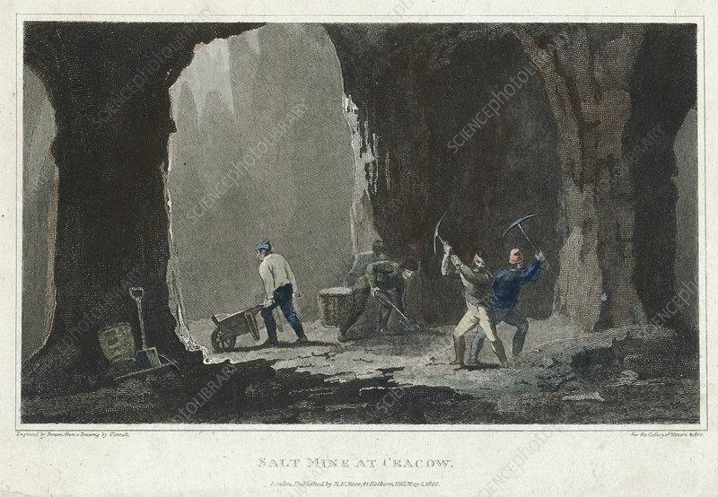 Rock Salt Miners at work near Cracow, Poland, c1820