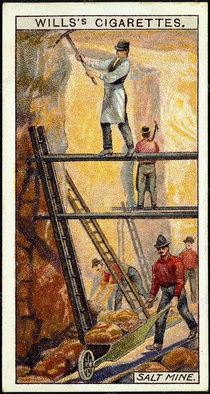 Rock Salt Miners in salt mine, Wieliczka, Galicia, Poland