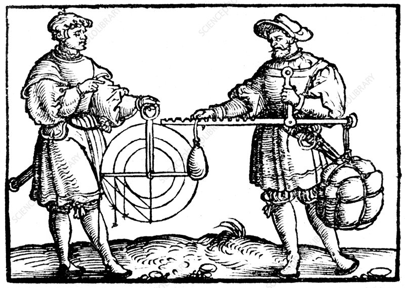 Weighing with a steelyard, 1547