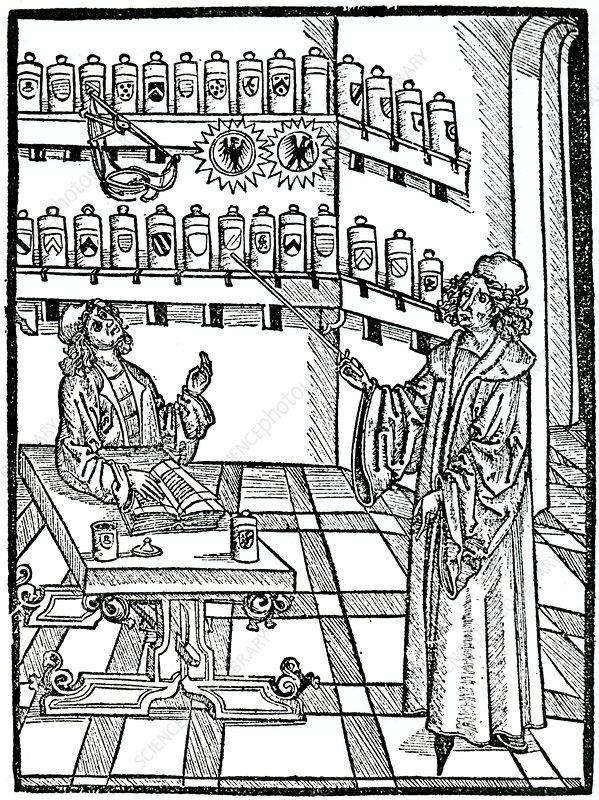 The apothecary's shop, Strasbourg, 1483.