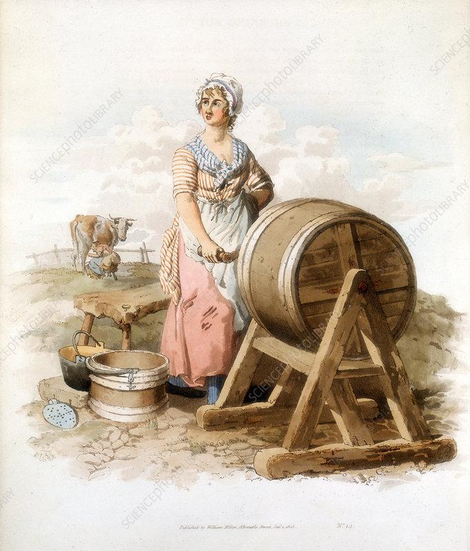 Women making butter, 1808