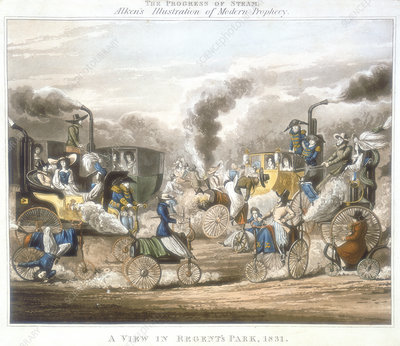 The Progress of Steam. A View in Regent's Park, 1831', 1828