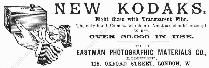 Advertisement for Kodak cameras, 1890