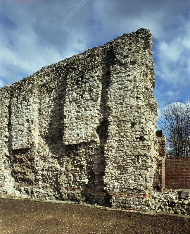 A section of the City wall at Tower Hill, London