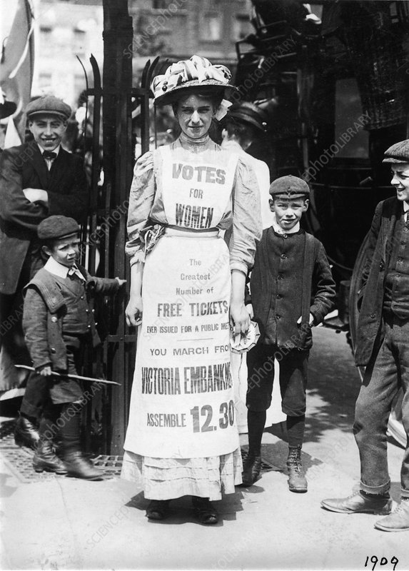 Suffragette advertising a march, Strand, London, c1909