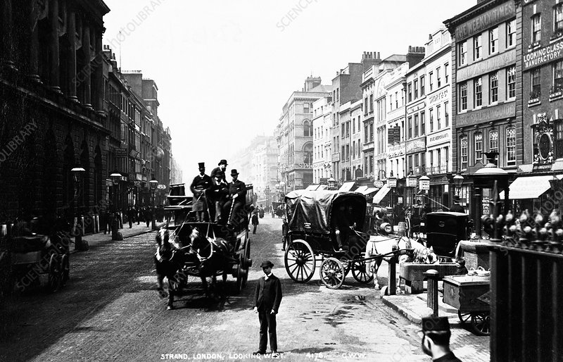 Looking west along the Strand, City of Westminster, London