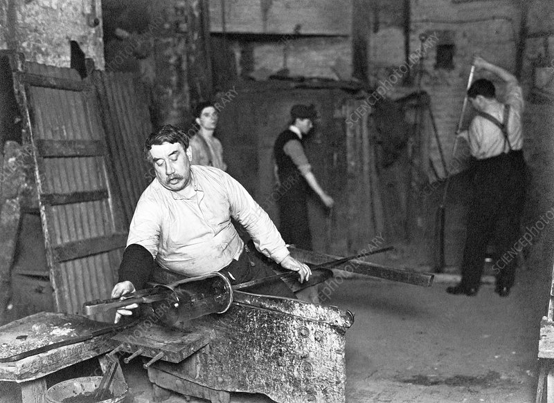 Worker at Whitefriars Glassworks, City of London