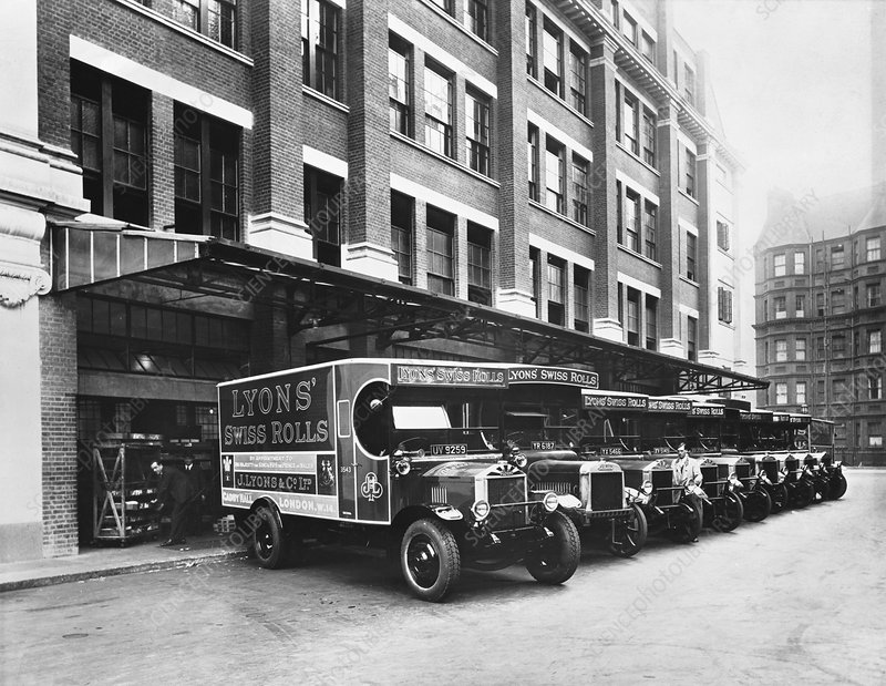 A fleet of Lyons delivery vans, London