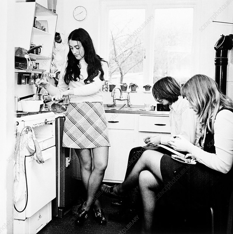 Three young people in the kitchen of a London flat, c1960s