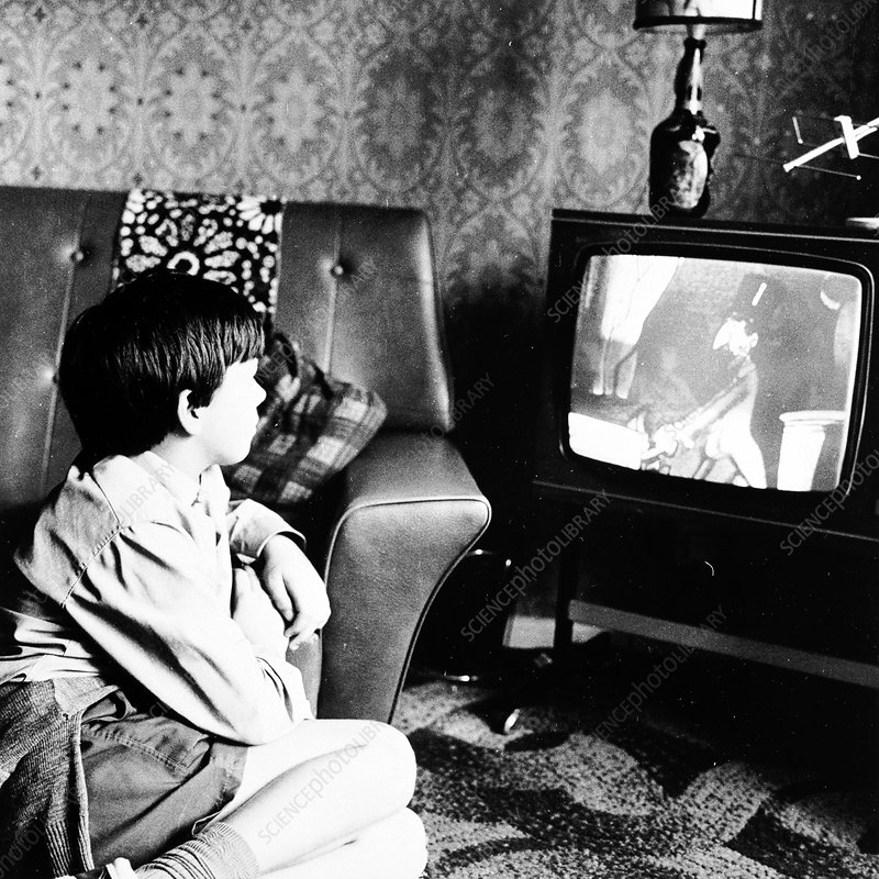 Boy watching television in a London house, c1950s