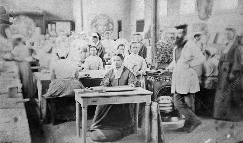 Women prisoners working, Pentonville Prison, London