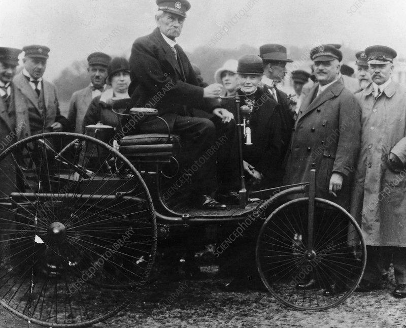 Karl Benz in his Benz motor car, 1886