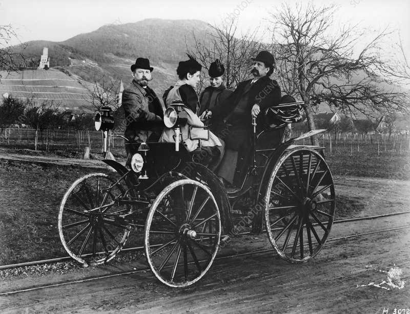 Karl Benz with his wife Bertha in a Benz-Viktoria, 1893