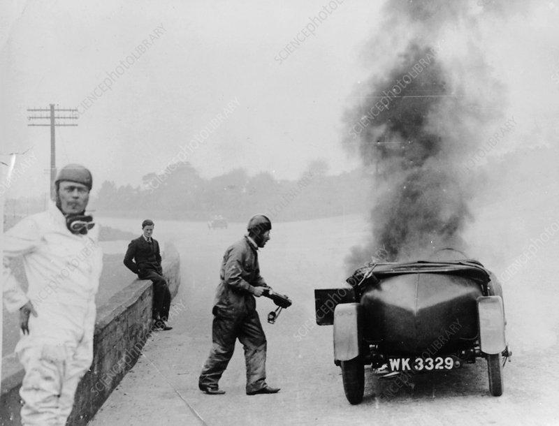Car on fire, Brooklands, Surrey, 1928