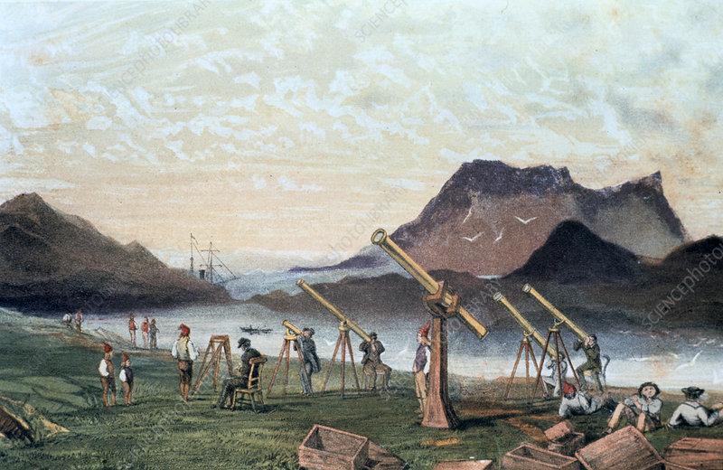 Observing a total solar eclipse, 1851
