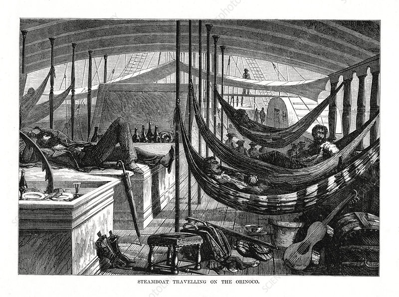 Steamboat travelling on the Orinoco, South America, 1877