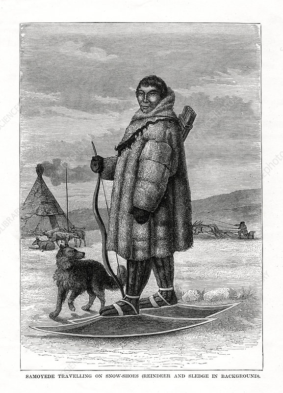 Samoyede Travelling on Snow-Shoes', Russia, 1877