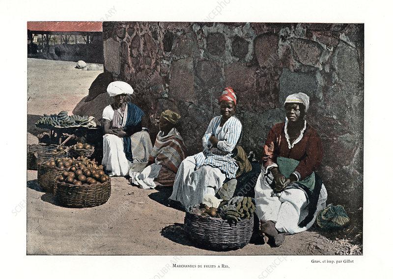 Fruit sellers, Rio de Janeiro, Brazil, 19th century