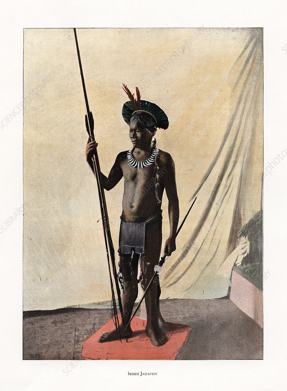 Jauapiry Indian with weapons, Brazil, 19th century