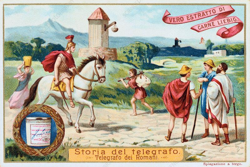 Aerial telegraph: ancient Roman signal towers, c1900
