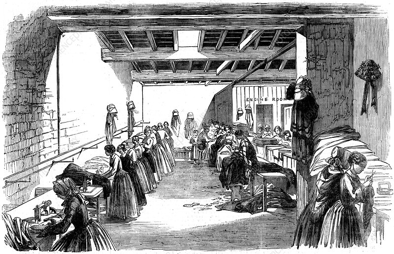 Machine Room in a Steam Sewing Factory, 1854