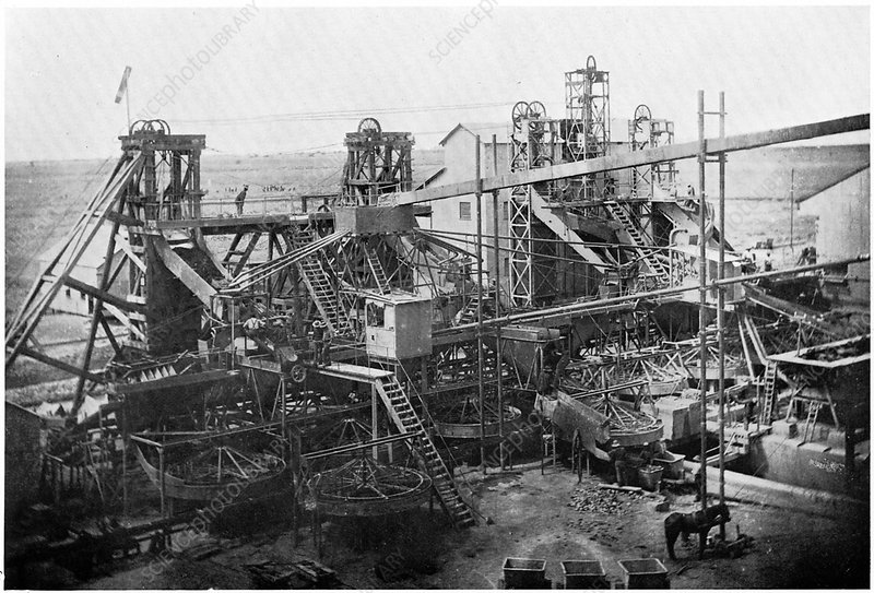 Washing plant at diamond mines, South Africa, c1900