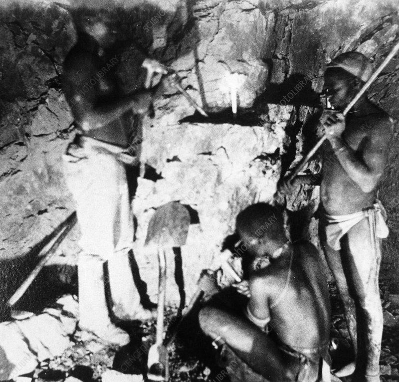 Basuto miners in De Beers diamond mines, South Africa, c1885