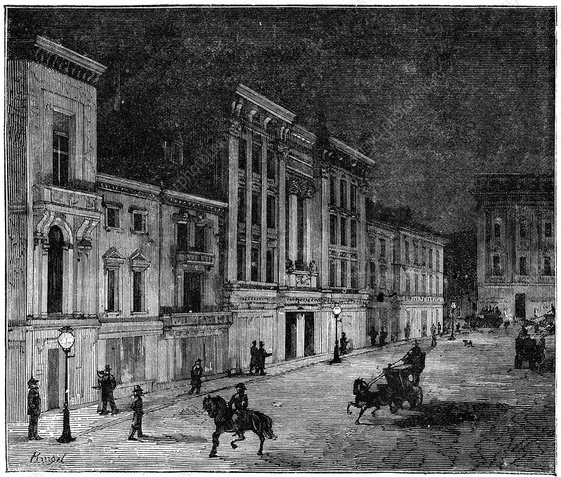 Street lit by Swan incandescent electric lamps, 1883