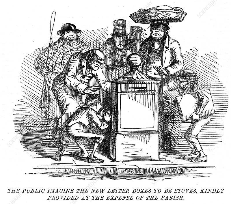 New letter boxes being mistaken for heating stoves!, 1855