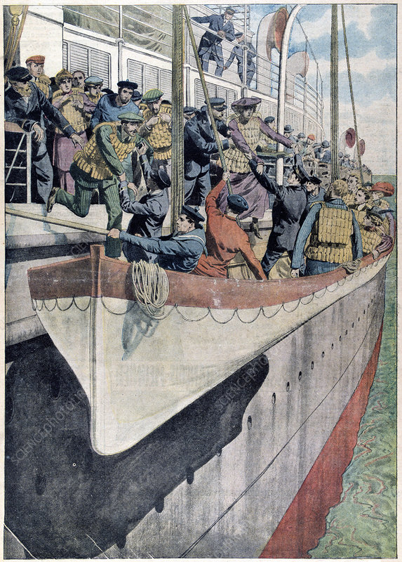 Lifeboat drill on a passenger liner, 1912