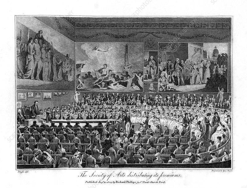 The Society of Arts distributing its premiums, 1804