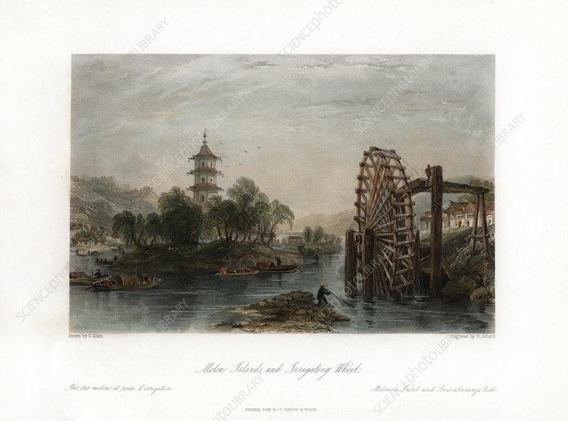Melon Islands, and Irrigating Wheel', China, c1840