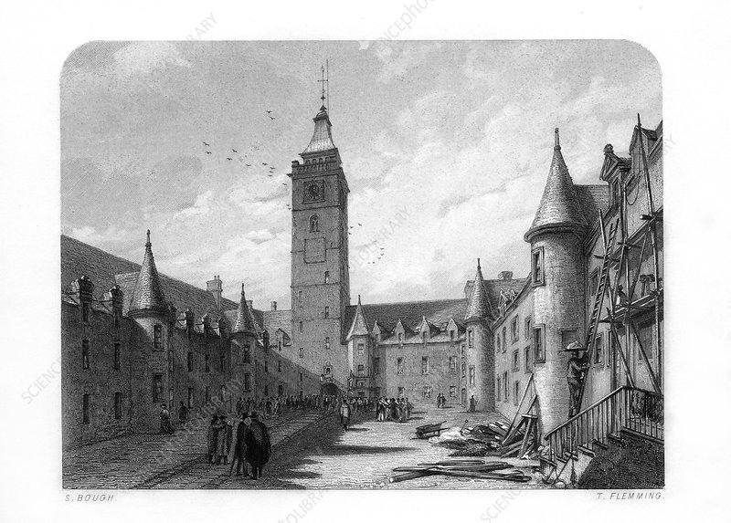 The inner court of the University of Glasgow, Scotland, 1870