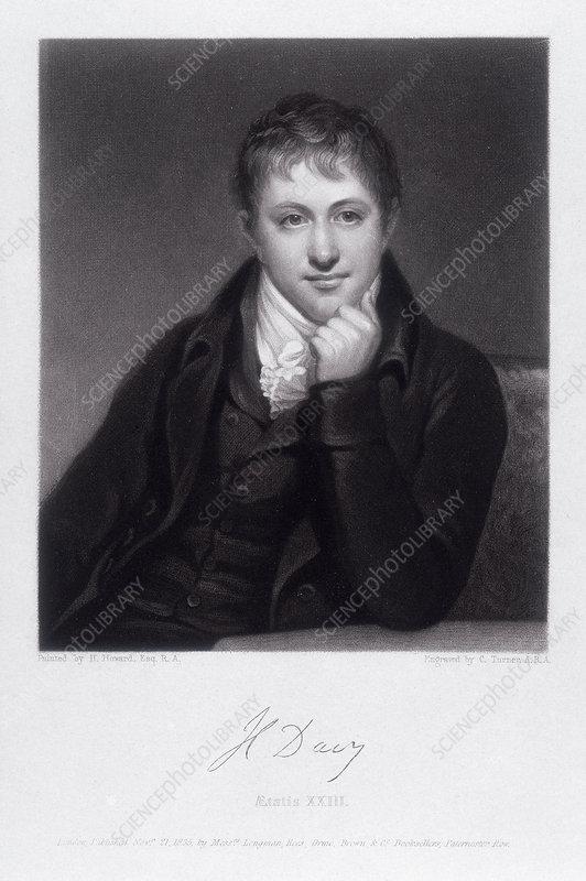 Sir Humphrey Davy, English chemist, 1803