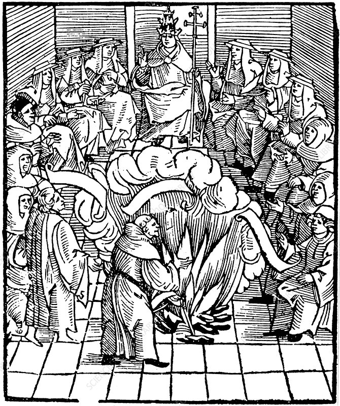 Pope Leo X supervising the burning of Martin Luther's books
