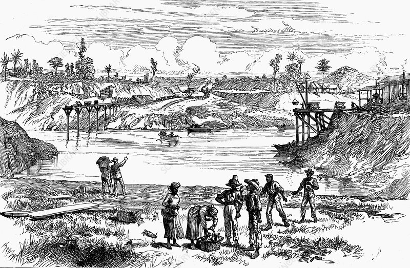 The de Lesseps attempt to dig the Panama Canal, 1888