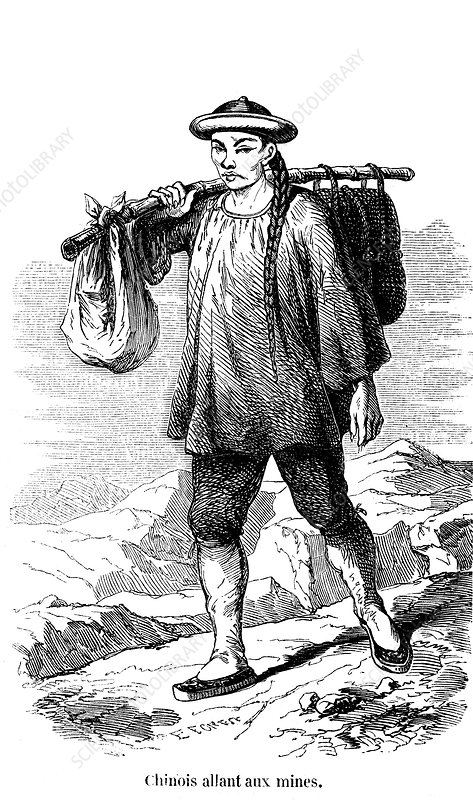 Chinese prospector in the Californian gold fields, 1853