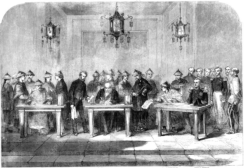 Lord Elgin signing the Treaty of Tainjin, 1858
