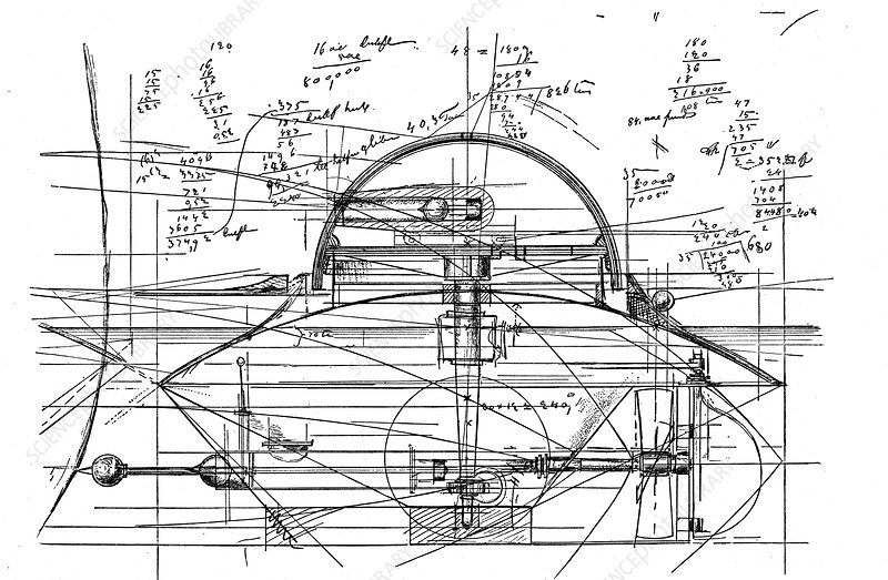 John Ericsson's sketch for revolving turret ship 'Monitor'