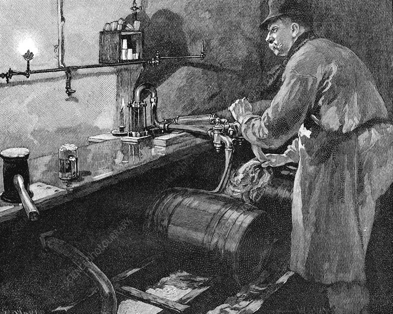 Filling beer barrels in an American brewery, 1885